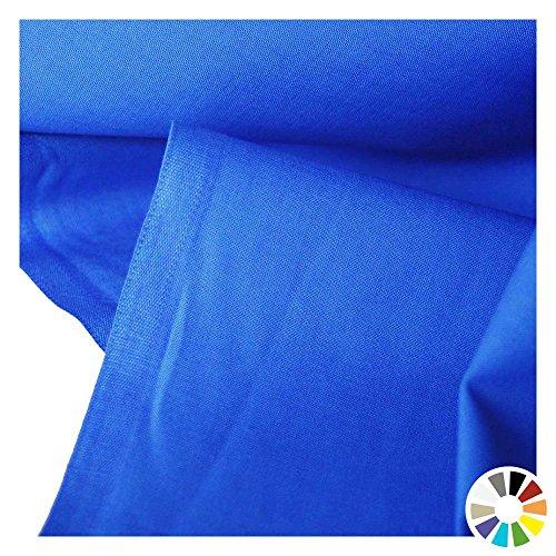Blau Baumwolle Stoff (TOLKO Baumwollstoff Meterware - OEKO-TEX® Baumwoll-Qualität, Leichter Klassiker zum Nähen und Dekorieren (Royal-Blau))