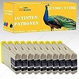 10 x Tintenpatronen kompatibel zu LC 970BK/LC1000BK (Black) Brother FAX-1360 FAX-2480C