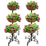 Marko Gardening 2 or 3 Tier Flower Fountain with Coco Liners Black Metal Garden Patio Planter (2, 3 Tier)