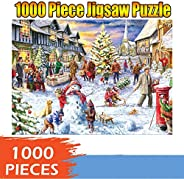 1000 Piece Jigsaw Puzzle for Adults – Every Piece is Unique, Adults Puzzles 1000 Piece Christmas Snow Scene Pu