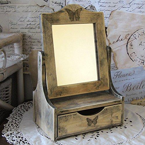 Vintage Schminkspiegel 23x15,5x37cm Retro Landhaus Spiegel Ablage Handarbeit