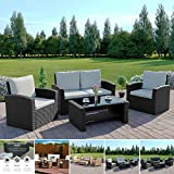 Rattan Outdoor Garden Patio/Conservatory WITH RAIN COVER 4 Seater Sofa and Armchair set with Cushions and Coffee Table Grey Brown Black (Black with Light Cushions, Algarve 2+1+1)