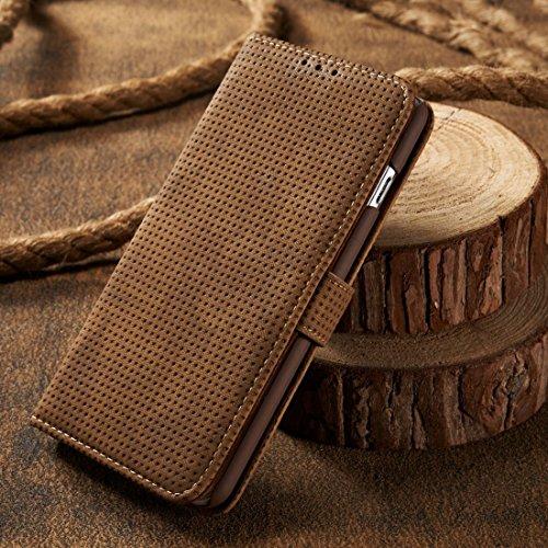 Phone Case & Hülle Für iPhone 6 & 6s Retro Style Mesh Atmungsaktives Horizontal Flip Ledertasche mit Kartensteckplatz & Halter & Brieftasche ( Color : Brown ) Brown