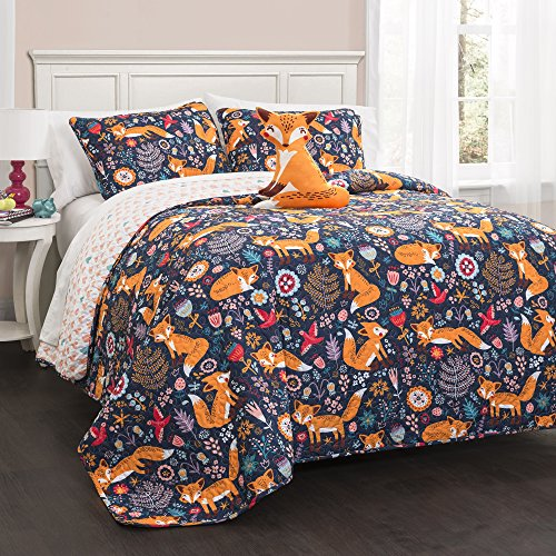 Lush Decor 16T000548 Bettwäsche-Set Pixie Fuchs, 3-teilig, Marineblau, Doppelbett Full/Queen Navy - California Navy Quilt King