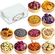 Dried Flowers, 12 Pack Natural Dried Flower Herbs Kit for Bath, Bomb, Soap, Resin, Candle Making, Include Rose