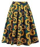 Eudolah Damen Kleid kurz Roeck Rockabilly Faltenrock Knielang Stoffdreuck Vintage Sommerrock 1441 Sonnenblumen Gr.L
