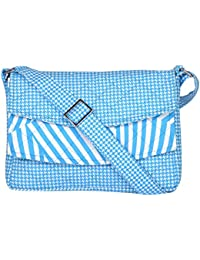 By My Side Women's Sling Bag (Blue And White)