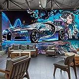 Papel Pintado Papel Tapiz Mural Personalizado Street Graffiti Sports Car Creative 3D Wallpaper Para Restaurante Cafe Bar Decoración Pintura De Pared, 400 * 280 Cm
