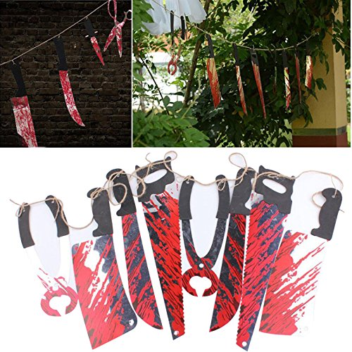 r Gespenstisch Halloween Requisiten Blutig Messer Hängend Dekor Bar Haus Dekoration Girlande Banner (Clearance Halloween Requisiten)