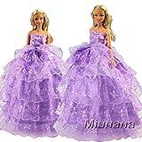 Miunana Robe de soirée en dentelle violette mode magnifique pour la poupée Barbie