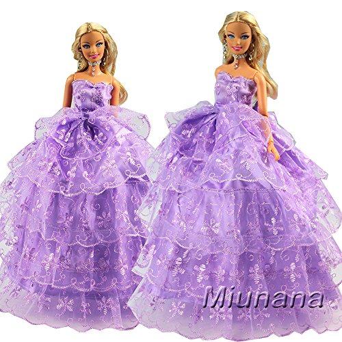 Fashionista Prinzessin Barbie Puppen (Miunana Prinzessin Kleidung Abendkleid Kleider Kleid Party Hochzeit für Barbie Puppen Doll)