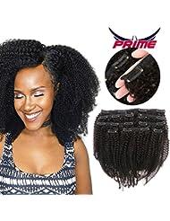 Oylove 9A Grade Mongolian Afro Kinky Curly Clip In Virgin Remy Human Hair 8 pcs 18clips / ensemble Vierge Mongole Clip de Cheveux Humains Ins Naturel Noir Couleur (1 faisceau 12 pouces, noir)