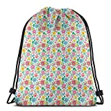 Jiger Drawstring Tote Bag Gym Bags Storage Backpack, Bees and Butterflies Thriving Nature Illustration Blossoming Flowers Pattern,Very Strong Premium Quality Gym Bag for Adults & Children