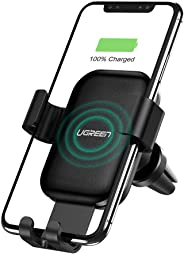 UGREEN Wireless Charger Car Phone Mount, 10W Qi Automatic Clamping Dashboard Air Vent Phone Holder Compatible for iPhone 11/11 Pro/11 Pro Max/Xs Max/XS/XR/X/8/8+, Samsung S10/S10+/S9/S9+/S8/S8+
