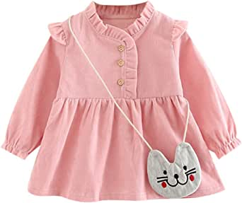 Houystory Baby Girls Dress 0-3 Years Old Clothes Baby Girl Dress Autumn Cotton Cute Rabbit Princess Dresses Casual Long Sleeve Skirt Suit