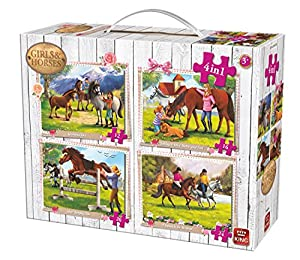 King Girls & Horses 4in1 Kids Puzzle Puzzle - Rompecabezas (Puzzle Rompecabezas, Dibujos, Niños, Cabello, Chica, 4 año(s))