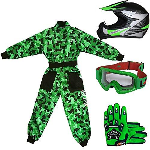 Leopard LEO-X19 Verde Casco de Motocross para Niños (M 51-52cm) + Gafas...