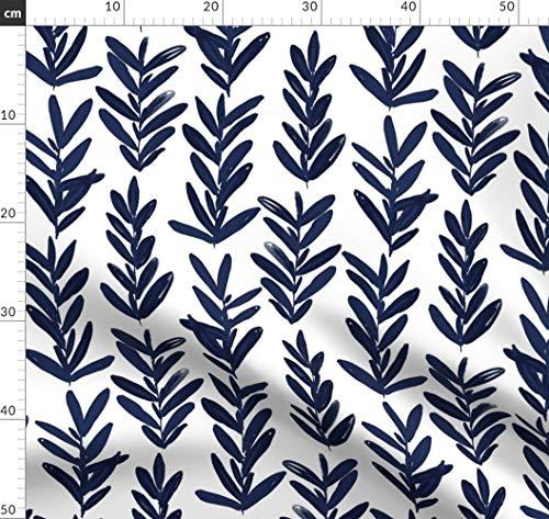 Salbei, Blätter, Indigo, Marineblau, Blau Stoffe - Individuell Bedruckt von Spoonflower - Design von Jillbyers Gedruckt auf Chiffon -