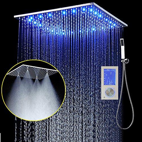 ONLT Duschsystem,3 Led Funktion Dusche mit konstanter temperatur,495x495 mm,Spa spray, Regen, 304 Edelstahl, intelligente digitale Touch Display,Handbrause
