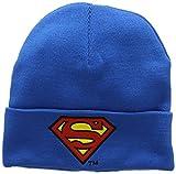 Logoshirt Bonnet en Laine Superman Logo - Bonnet DC Comics - Super-héros - avec Logo brodé - Bleu - Design Original sous Licence
