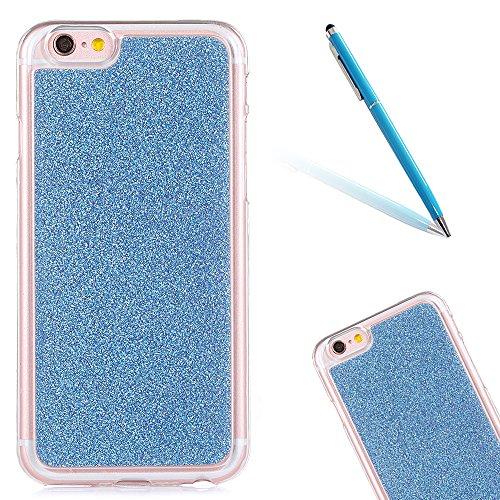 """iPhone 5s Handyhülle, Bling Glitzer Funkeln CLTPY iPhone SE Durchsichtig Dünne Matte Gel Cover Schlanke Hybrid Stoßdämpfende & Kratzfeste Gummi Case mit Kippständer für 4.0"""" Apple iPhone 5/5s/SE + 1 x Blau"""