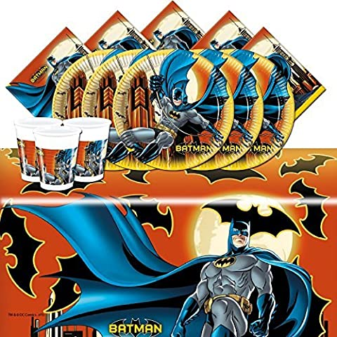 Batman Complete Party Supplies Kit For 16 Plates Cups Napkins Table Cover