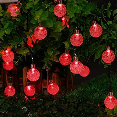 (Berocia Wetterfeste LED Lichterkette Warmweiss Solar Außen mit batterie, 6.5 Meter 30 LED 8 Modi Weihnachtsbeleuchtung für Haus Garten Rasen Weihnachten Urlaub Dekoration)