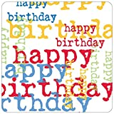 Paperproducts Design PPD 88183 Pappteller zum Geburtstag, quadratisch, 25 cm, mehrfarbig
