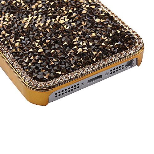 iphone 5C Hülle,iphone 5C Shiny Sparkle Schutzhülle,Ekakashop Fashion Glitter Glitzern Diamant Protective Handy Hülle Schutz hülle Hard Back Cover Bling Case Bumper Protector im Blau für Apple iphone  Golden