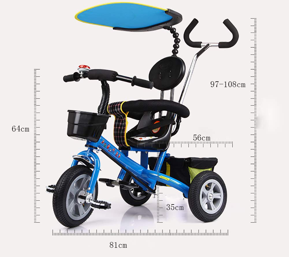 Lhh Kids Three-wheeled Trolley With Awning Foldable Bilateral Steering Titanium Empty Wheels For Kids 6 Months -6 years Old,Blue Lhh [Multi-function tricycle] Bearing capacity: 50KG,Age: 6 months-6 years old,Material: steel tube frame, environmentally friendly PC seat and ,accessories, rubber tire foam tire,Weight: 10.8kg, Specifications total length: 81cm,Width: 56cm,Height: 64cm,Suitable for outdoor horizontal roads or spacious and accessible indoors [Safety Certification] tricycle has a folding function that can be easily placed in the trunk of the car. The tricycle is equipped with an anti-UV 50, a roof adjustable on 3 levels, offer maximum comfort and convenience. Tricycle has a unique feature of two foot rest, one at the bottom of the child seat and others at the front wheel. [Silent Wheels] This stroller is equipped with a high quality titanium vacuum wheel, mute resistance and abrasion are its greatest features, suitable for different road conditions, Such as sand, shock absorbing belt, the lawn, the gravel road, the brick road. 2