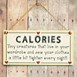 Calories - Tiny creatures that live in your wardrobe and sew your clothes a little bit tighter every night! - Gift Love Heart Frame Sign