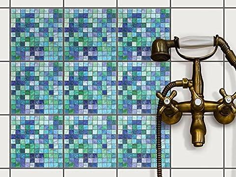 Sticker Autocollant - Adhésif pour carrelage interieur | Recouvrir Faience salle de bain et crédence cuisine | Décoration mural | Design Mosaïque Vert-Bleu - 15x15 cm - 18 pièces