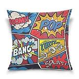 alaza Retro Pop Art Comic Place Throw Coussin Velours Taie d'oreiller de Coton Housse de 16x16 Pouces