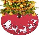 Konsait großen Weihnachtsbaum Rock rot 39 Zoll runde Filz Baumdecke Christbaumständer Weihnachtsbaum decke abdeckung mit Santa Schlitten für Weihnachtsbaum Verzierung Bodendekoration