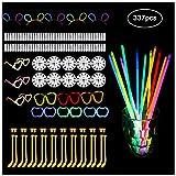 Aolvo 337PCS Glow Sticks party Pack, festive atmosfera party supplies include 8colori neon party supplies e 3confezioni di occhiali connettori | 19| 5fasce per capelli | 10Rounds disco sfera