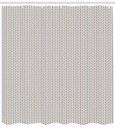 XIAOYI Taupe and White Shower Curtain, Traditional Nordic Design with Geometric Motifs in Vertical Order, Cloth Fabric Bathroom Decor Set with Hooks, 60x72 Inches Extra Long, Taupe and White -