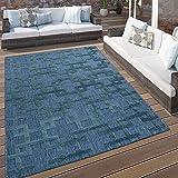 Paco Home In- & Outdoor Terrassen Teppich Modernes Kreuz Muster In Blau, Grösse:120x170 cm