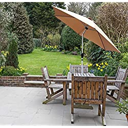 GlamHaus Parasol de Jardin inclinable 2,7 m en Aluminium Robuste Sable