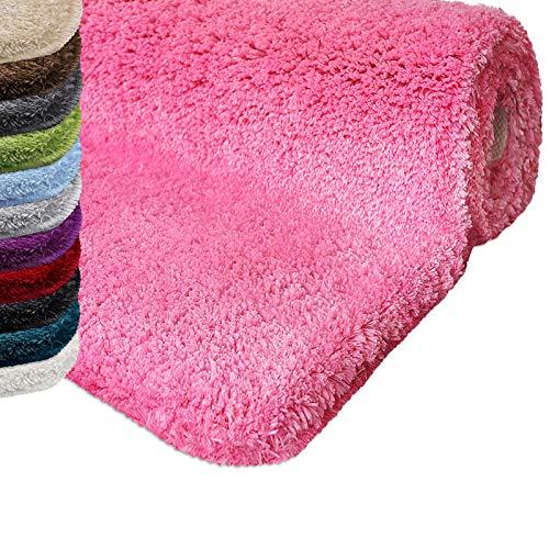 casa pura Badematte | kuscheliger Hochflor | Rutschfester Badvorleger | viele Größen | zum Set kombinierbar | Öko-Tex 100 Zertifiziert | 70x120 cm | Misty Rose (rosa)