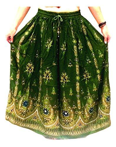 Boho Hippie Zigeuner Sequin Sommer Sommerkleid Maxi Rock ()