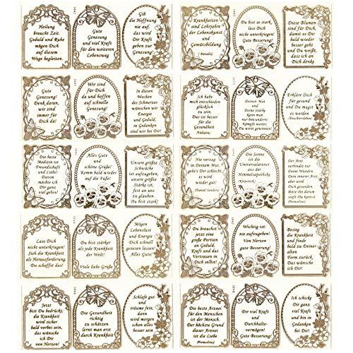 r-Sticker, transparent/Gold, 10 Bogen à 10 x 23 cm | Goldene Aufkleber zum Basteln & Dekorieren | Geburtstag, Weihnachten, Rente & mehr (30 Herzliche Glückwünsche) ()