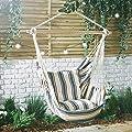 VonHaus gestreifter Hängesessel - 100% Baumwolle Outdoor Schaukeltuch mit gepolstertem Sitz von VonHaus auf Gartenmöbel von Du und Dein Garten