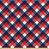 ABAKUHAUS Vistoso Tela por Metro, Patrón De Pata De Gallo, Satén para Textiles del Hogar y Manualidades, 2M (160x200cm), Azul Oscuro Blanco Rojo