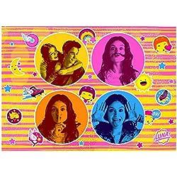 Soy Luna 634024 Tapis de décoration de Sol 4 Portraits, Velours, Rose, 133 x 95 x 1,5 cm