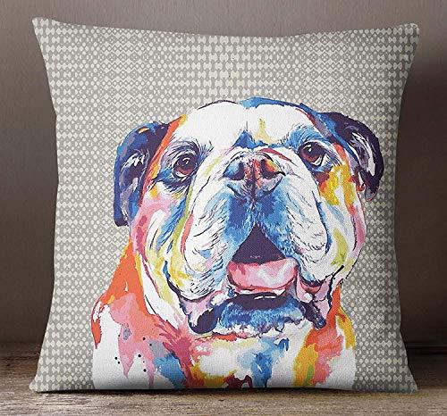 EstherBur87 Multicolor Platz Kissenbezug Bull Dog Print Dekorative Kissenbezug Leinwand Dekokissen Deckt Satin Kissenbezug ISUBSAS325A (Deckt Satin-kissenbezug)