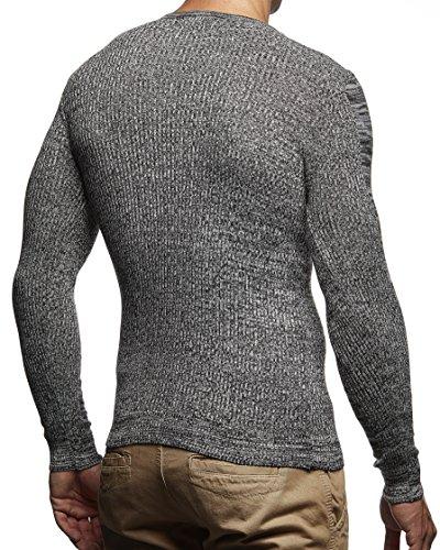 LEIF NELSON Herren Pullover Strickpullover Hoodie Basic Rundhals Crew Neck Sweatshirt longsleeve langarm Sweater Feinstrick LN1600 Schwarz-Ecru