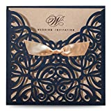 Wishmade 50 Stücke Marineblau Hochzeit Einladungen Karten mit Schleife Spitze Karten für Brautdusche Verlobung Geburtstag