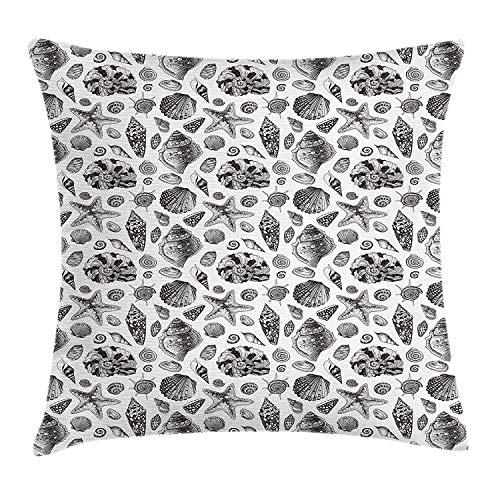 Skizze Throw Pillow, Marine Muster mit detaillierten Muscheln exotische Fauna Leben im Ozean, dekorative Akzent Kissen -