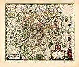 MAP ANTIQUE BLAEU THEATRE DU MONDE TRIER COUNTY REPLICA