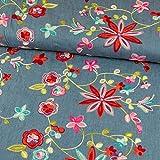 Jeansstoff Stickerei Blumen Modestoffe - Preis gilt für